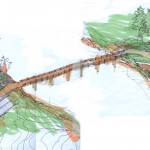 Hamber Island Estate Bridge, a residential and bridge architecture design project designed by Karl Gustavson Architect based in West Vancouver, Canada.